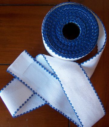 "14 count  x 50mm (2"") Zweigart  White  with Royal Blue Edging Aida Band"